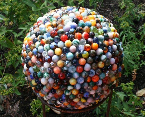 Cool garden ball made from reclaimed marbles AtCrux