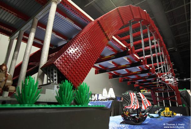 Marvelous 10 ft long LEGO Pennybacker Bridge made with 14,000 pieces