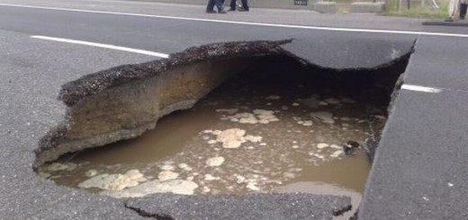 sinkhole on the rode