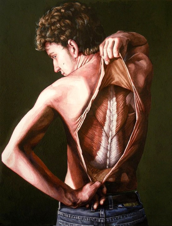 Danny Quirks Anatomical Self-Dissection paintings are not for the weak hearted